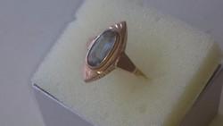Arany gyűrű akvamarin kővel 14 karátos Pénzverdei (lófejes)