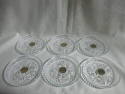 6 db Üvegkristály poháralátét.9 cm. Ajándék ötlet!