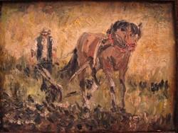 Szántóvető lovas olajfestmény festmény impresszionista ajándéknak is