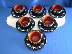 Retro kézzel festett Városlődi 6 személyes kerámia kávés készlet