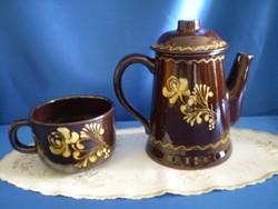 Antik Városlődi kézzel festett kerámia teás kancsó, tea kiöntő, kanna és nagy bögre, csésze