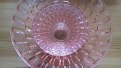 1 + 4 db  rozsaszin uveg  kompotos készlet