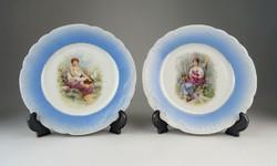 0P319 Antik porcelán dísztányér pár 19.5 cm