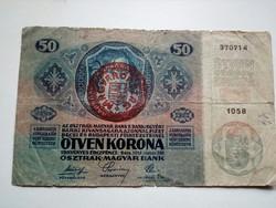 1914-es 50 Korona Magyarország bélyegzett