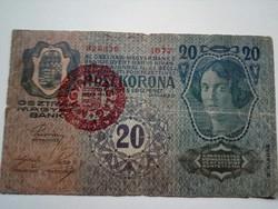 1913-as 20 korona Magyarország bélyegzett II. kiadás
