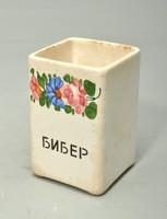 Extra ritka !!!! Régi Kispesti fűszertartó, ciril betüs felirattal, BIBER , paprika tartó.