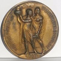 Sződy Szilárd: Magyar Főiskolai Sportegyletek Egyesülése 1907 bronz egyoldalas,Ludvig gyártóí jel.