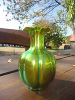 Zsolnay eozinmázas bordázott/gerezdes porcelán váza