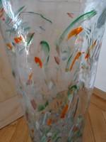 Iparművészeti üvegváza, padlóváza, 35 cm magas