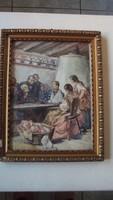 GERGELY IMRE(1868-1957)-festmény reprodukciója,díszes antikolt keretben-AZ OBSITOS KATONA TÖRTÉNETE.