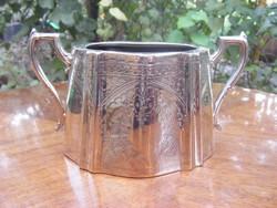 Szépen cizellált, jelzett antik darab, impozáns méretű ezüstözött cukorkás kínáló edény.