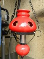 Régi piros kerámia  - kovácsoltvas lüszter lámpa