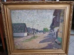 Alexandre Tichomiroff  (1889 - 1969) Falusi utca  című nagy festménye  92*79 cm szép keretben
