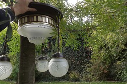 3égős antik réz mennyezeti lámpa eladó
