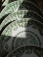 6 db zöld rózsás virág füzéres dombormintás tésztás tányér-19,3 cm