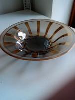 Arany csíkos modern füst-üveg dísztál-25,8 cm