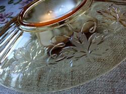 Szecessziós nagy borostyán üveg tálca dombor szőlőlevél mintával 29,5x24,6 cm