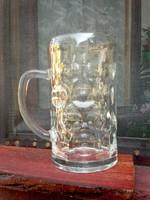 Régebbi 1 literes sörös üveg korsó, retro