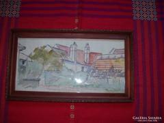 Tipary szignóval Háztetők tus, akvarell ÁRESÉS INGYEN POSTA