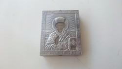 Ikon. Orosz 875 ös (84) ezüst borítású. Szent Miklós
