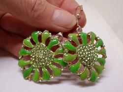 Szép antik smaragdzöld zománcos  fülbevaló