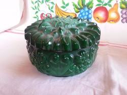 Zöld malahit üveg bonbonier
