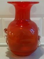 Piros, szögletes üvegváza, kézműves darab!