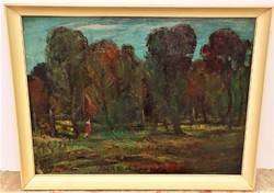 Gera Gyula (1915-1968) Tájkép c. olajfestménye 86x66cm EREDETI GARANCIÁVAL