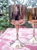 4 db-os gyönyörű vastagon ezüstözött kézzel mintázott antik boros pohár készlet eredeti dobozában