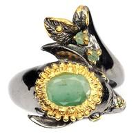 Valodi Termeszetes Kezeletlen Brazil Smaragd 925 Ezust 2 Tonusu Gyuru