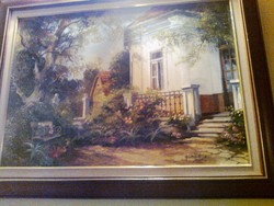 Fekete Zsolt: Kerti pad c. festménye, fa keretben