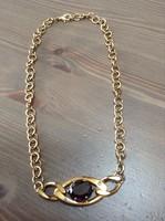 Morellato arany színű nyaklánc lila kristályal és apró gyémánt kővel