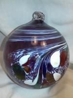 Színes márványos nehéz üveggömb nagy méret karácsonyfadísz
