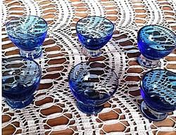ANTIK ART DECO kék üveg likőrős pohár 6 db   +  GRÁTISZ   2 db üveg pohár