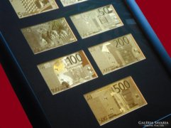 24k ARANY 5-500 EURO UNC BANKJEGY FULL SZETT, EXKLUZÍV GYŰJTEMÉNY, LUXUS AJÁNDÉK, ARANYPÉNZ