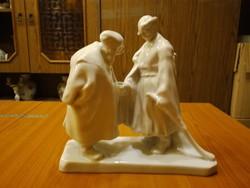 Herendi fehér Búcsúzkodók porcelán figura