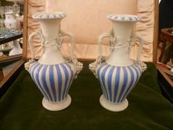 Angol kék-fehér biszkvit váza pár