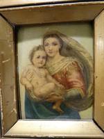 Madonna gyermekkel, antik kicsi szentkép rézlemezre festve
