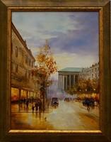 """Tiszavölgyi Ferenc: """"Őszi alkony Párizsban"""" 40*30 cm olajfestmény keretben"""