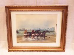 Lóverseny - Rendkívül kvalitásos akvarell!!