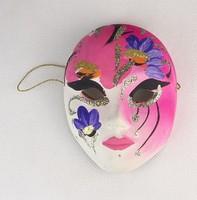 0P345 Velencei karnevál rózsaszín maszk falidísz