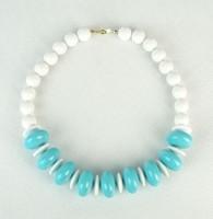 0P441 Retro kék-fehér bizsu gyöngysor nyaklánc