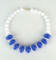 0P442 Retro kék-fehér bizsu gyöngysor nyaklánc