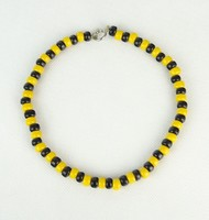 0P445 Retro sárga-fekete bizsu gyöngysor nyaklánc