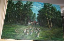 Lordi vadászat 100x 70cm olajfestmény,farost.Keresztury Sándor,vastag réteggel festmény