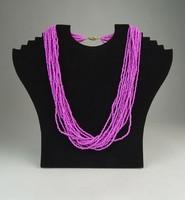 0P478 Retro rózsaszín női bizsu nyakék lánc