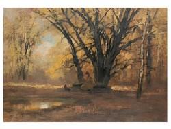 Kézdi Kovács László: Kutyus és gazdája az őszi erdőben