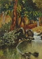 0P071 Ismeretlen festő : Erdei forrás 1917