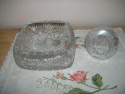 Kristály asztalközép és kristály bonbonier