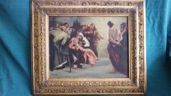 EREDETI !!! Fejér Sándor (1876-1915) - Jézus Pilátus előtt c. festménye !!!